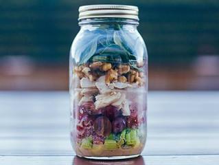 Mustard Chicken and Spinach Salad in a Mason Jar