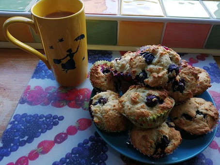 Blueberry and lemon muffins.
