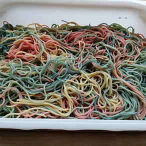 Unicorn Hair - cooked spaghetti play