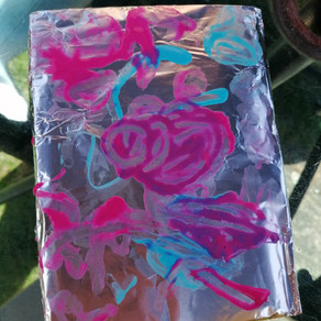 Painting on foil with Puffy Paint