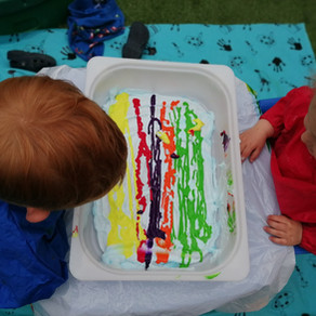 Shaving foam and paint