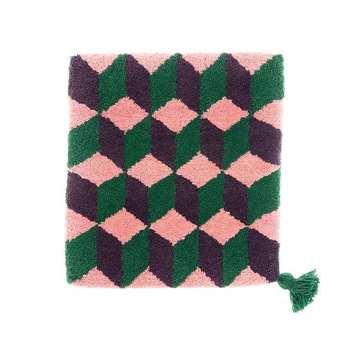 ゼリージュウタン・ボタニカル68 zabouton〈キュービック/ピンク×紫×緑〉