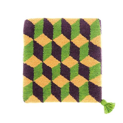 ゼリージュウタン・ボタニカル68 zabouton〈キュービック/黄土色×紫×ピスタチオ〉