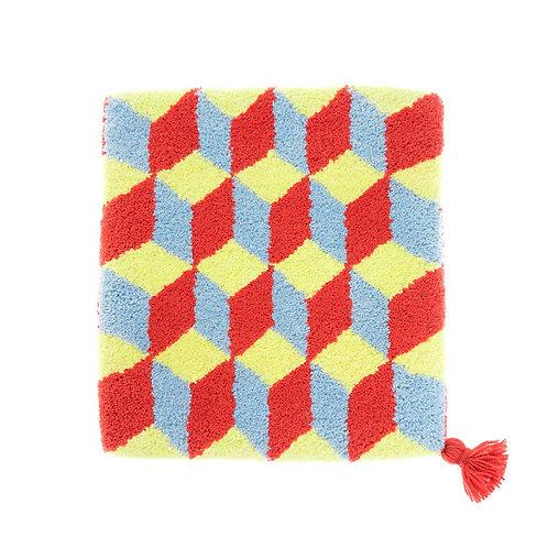 ゼリージュウタン・ボタニカル68 zabouton〈キュービック/レモンイエロー×スモークブルー×赤〉