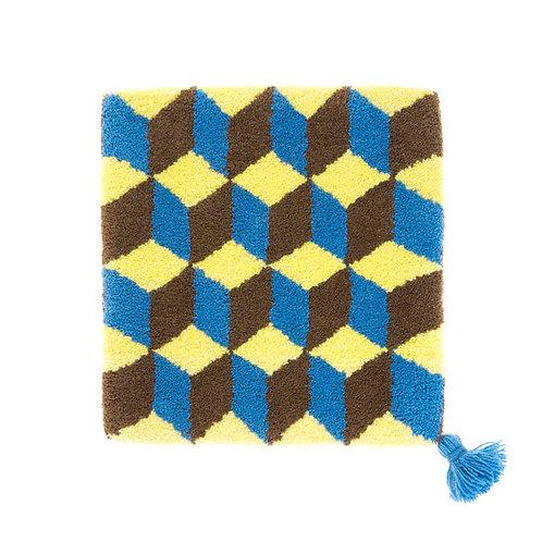 ゼリージュウタン・ボタニカル68 zabouton〈キュービック/レモンイエロー×茶×スモークブルー〉