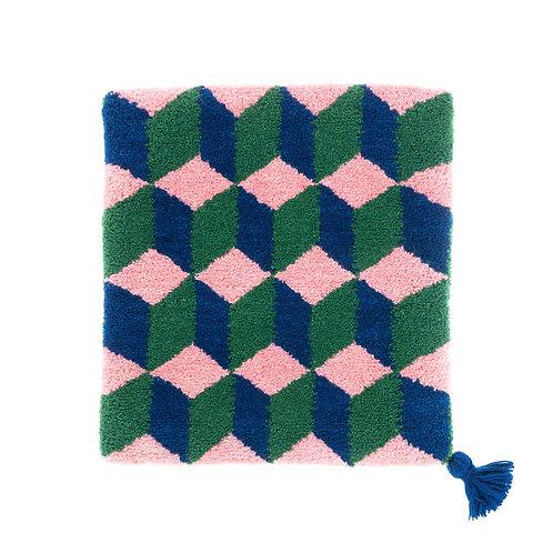 ゼリージュウタン・ボタニカル68 zabouton〈キュービック/ピンク×インディゴ×緑〉