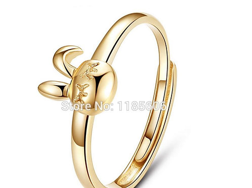 Little Sterling Gold-Colored Bunny Ring