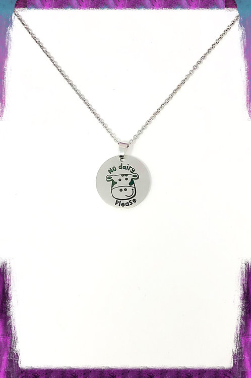 Non-dairy stainless cow necklace
