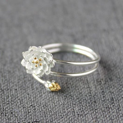 925 Silver Lotus Flower Ring