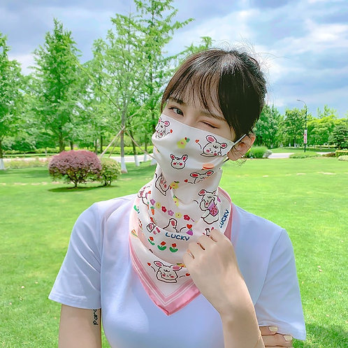 Convertible bunny print scarf/face cover