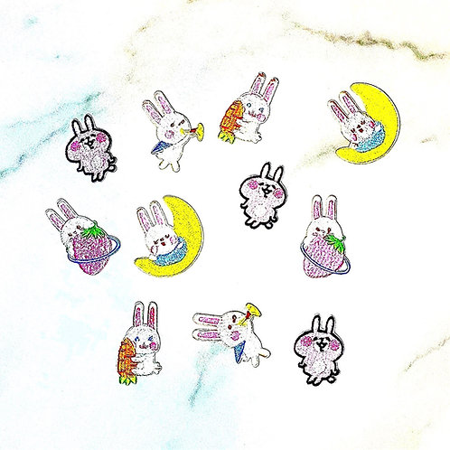 Set of 5 bunny iron-on appliqués