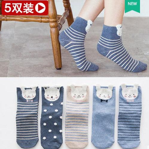 5-Pk Bun Socks
