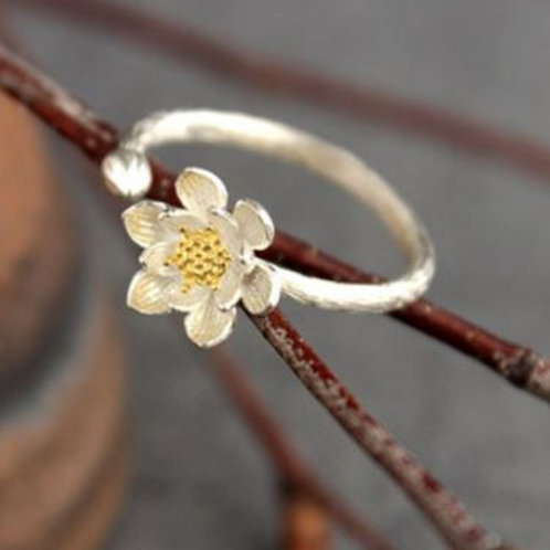 925 sterling retro flower ring