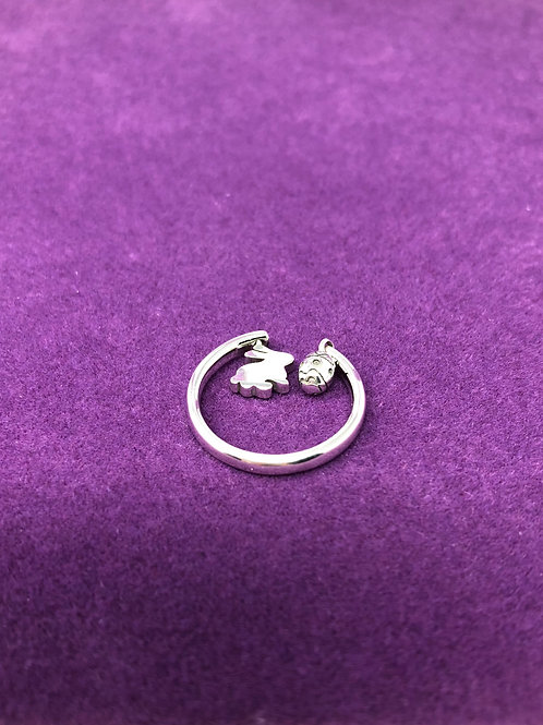 Adjustable Sterling Bunny Ring