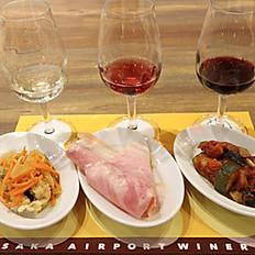 3種タップワイン(各40ml)と3種前菜のマリアージュセット
