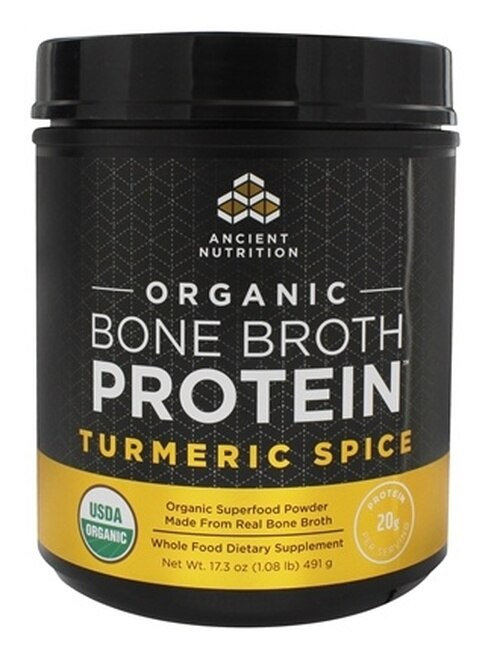 Ancient Nutrition Organic Bone Broth Protein Turmeric Spice 17.3 oz.