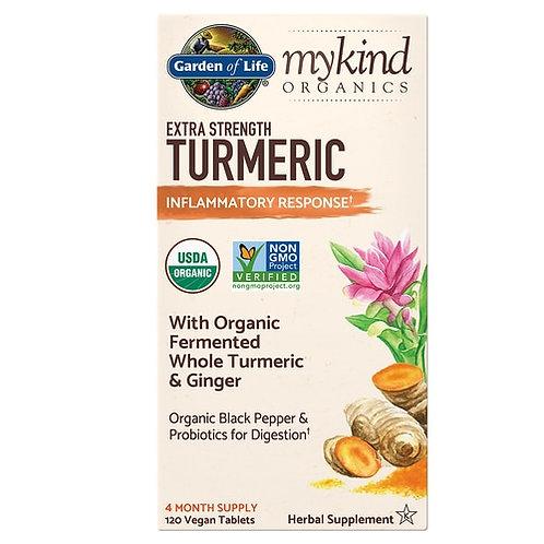 Garden of Life mykind Organics Extra Strength Turmeric 120 Tabs.