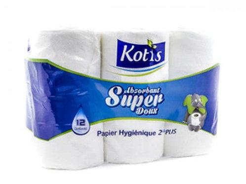 Papier hygiénique Blanc Kotis 12 Rouleaux