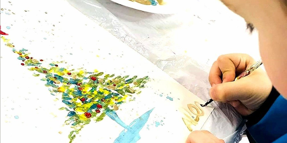 Atelier d'Aquarelle parents-enfants. Création d'un sapin de Noel.