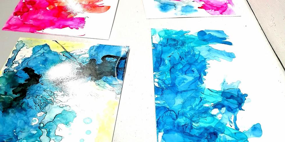Atelier créatif Parent - Enfant - Encre et alcool sur papier yupo