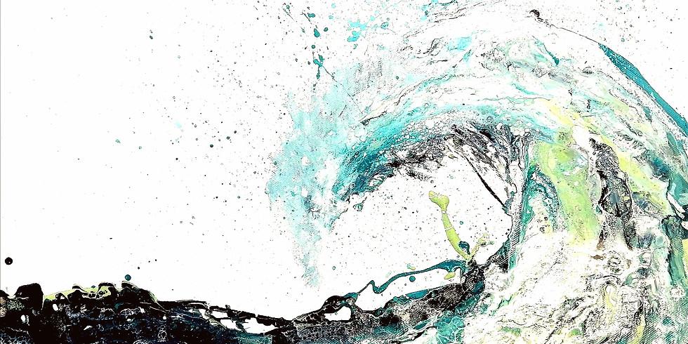 COMPLET Soirée créative - Vin, plaisir et peinture. Medium de coulage- Vague