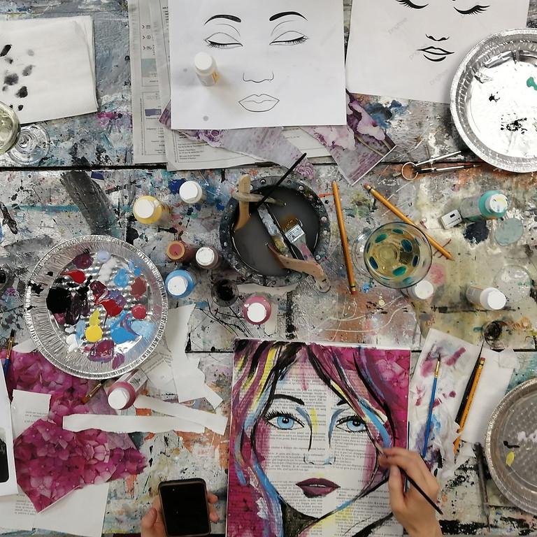 Soirée créative Vin, peinture et plaisir ! Visage sur papier à l'encre et acrylique