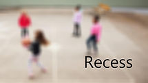 A blurry image of kids at recess with the Name Recess in balck lettering on the lower left side
