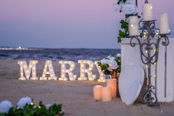 dusk beach marry me with candle