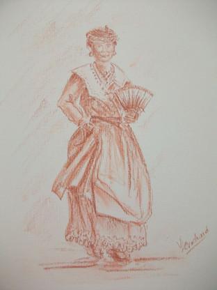 femme en tenue traditionnelle(sanguine)