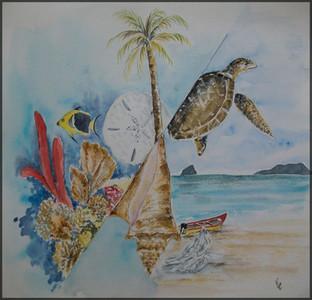 montage sur le thème de la mer des caraibes
