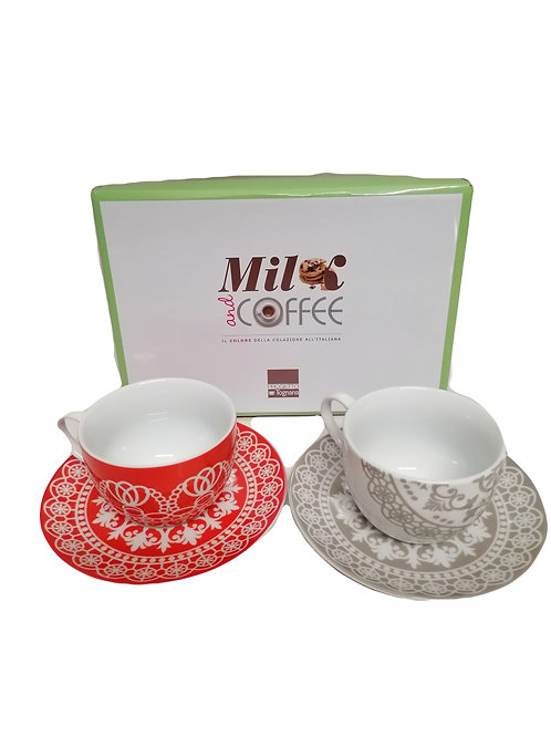 "SET 2 TAZZE COLAZIONE IN PORCELLANA FINA ""MILK AND COFFEE "" ML085384119"