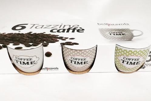 "SET 6 TAZZINE CAFFÈ IN PORCELLANA ""COFFEE TIME"" BELLINTAVOLA  - GICOS GS176108"