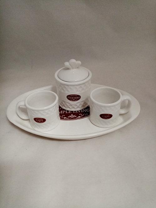 SET CAFFÈ CON VASSOIETTO IN CERAMICA