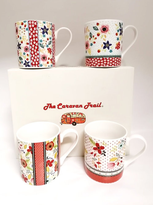 SET 4 MUG IN CERAMICA THE CARAVAN MARCA QUEENS BT CHURCHILL