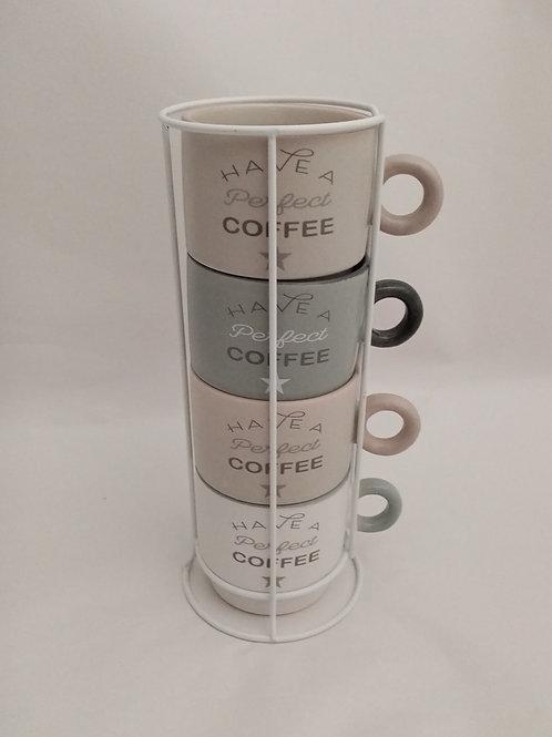 """SET 4 TAZZE IN PORCELLANA """"HAVE A PERFECT COFFEE"""" CON SOPPORTO IN METALLO - ITEM"""