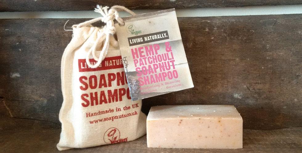 Hamp & Patchouli Soapnut økologisk Shampoo Bar, 90g