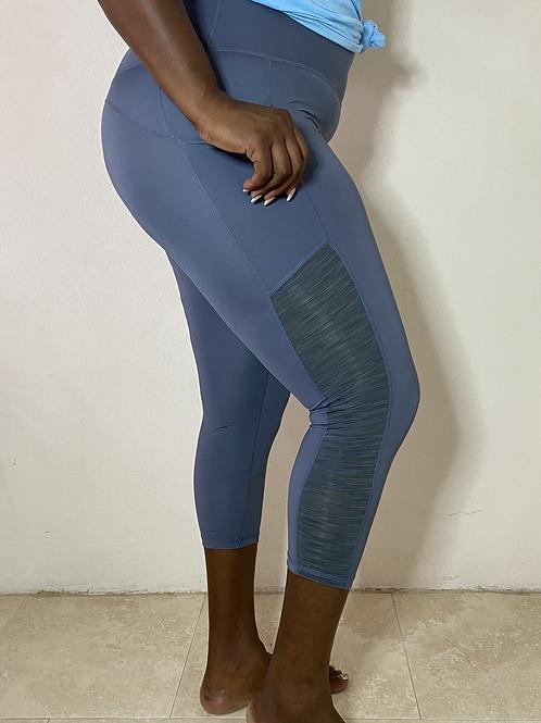 Demi Yoga Fit Plus Size Ribbed Mesh Leggings