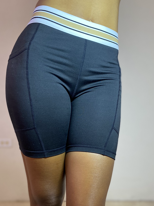 Demi Yoga Fit Tricolour Band Biker Shorts