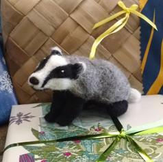 Felted Badger Ornament
