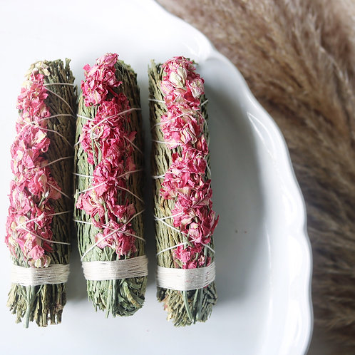 Cedar + Pink Larkspur Smudge Stick