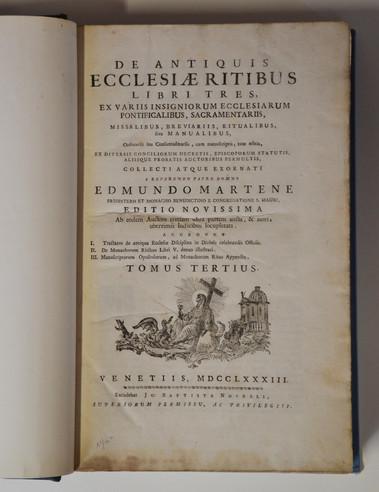 DE ANTIQUIS ECCLESIAE RITIBUS