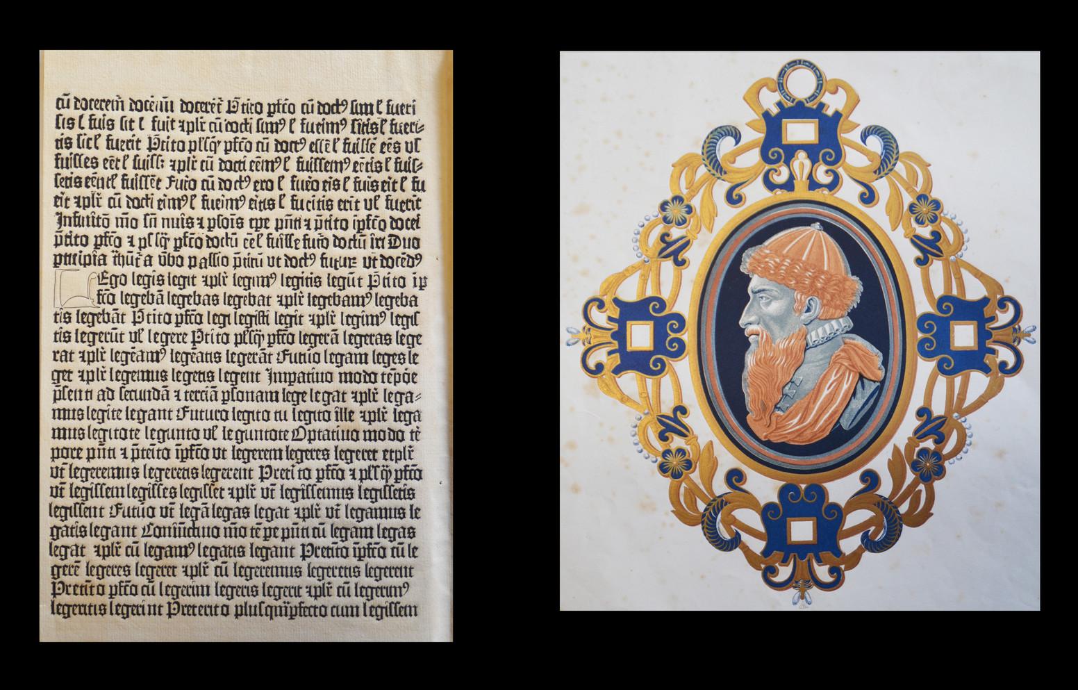 FAC-SIMILE de la Première Bible de Mayence imprimée par Gutenberg, et médaillon contenant le portrait de Gutenberg