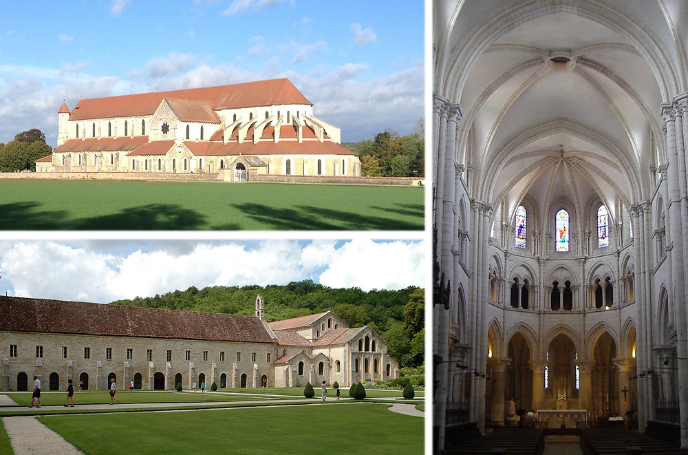 En haut : Pontigny ; en bas : Fontenay ;  à droite : Chablis.