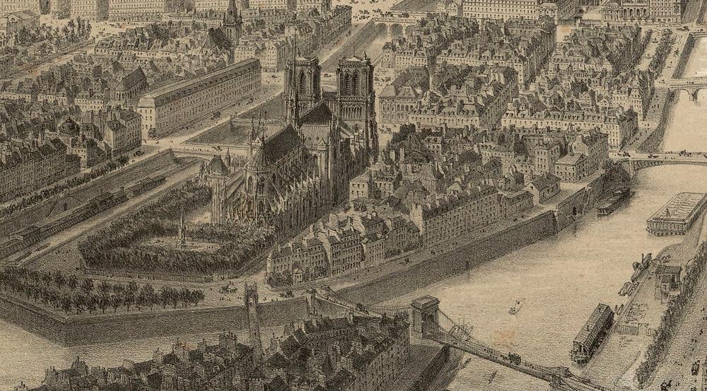 Paris en 1860 Vue à vol d'oiseau prise au-dessus du quartier de Saint Gervais : [estampe] [s.n.]. Gallica (BnF). [zoom sur Notre-Dame].