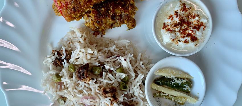 Amritsari Wadi Pulao with besan wali bharwa mirch & Homemade ginger chilli pickle