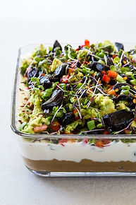 7 layer dip with black garlic hummus