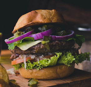 a proper burger with original black garlic