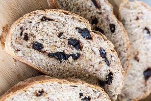 Wheat bread with walnuts baked with black garlic