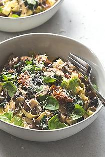 Mushroom, Sun Dried Tomato, And Black Garlic Tagliatelle