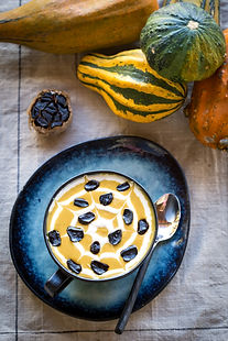 halloween friendly pumpkin soup with black garlic